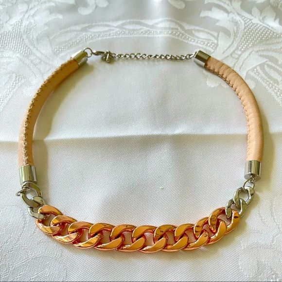Pink faux leather * rose gold statement necklace